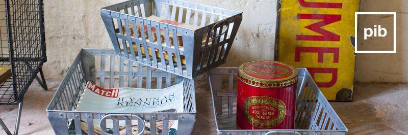 Metalen opbergkisten in industriële stijl snel weer terug in de collective