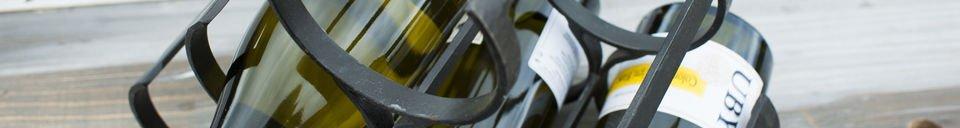 Benadrukte materialen Metalen opslagrek voor 6 flessen