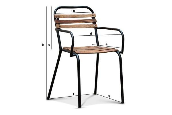 Productafmetingen Mistral stoel met armleuning