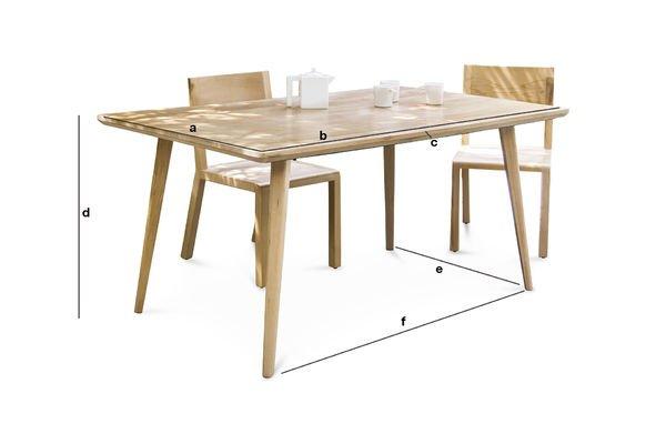 Productafmetingen Môka tafel