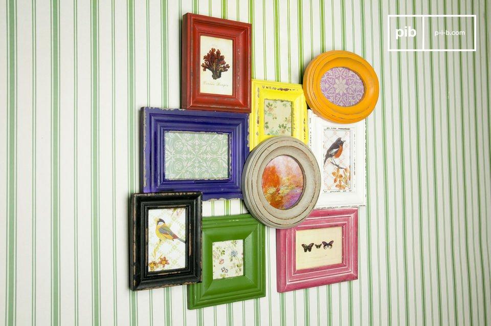 Deze leuke houten collagelijst voegt een vleugje kleur toe aan je interieur