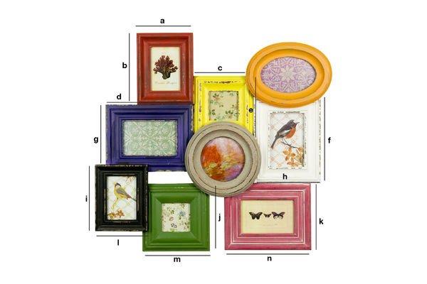 Productafmetingen Multi-colour collagelijst - 9 foto's