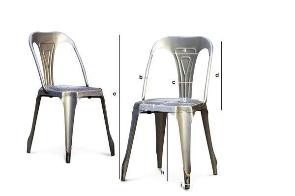 Productafmetingen Multipl's stoel van geborsteld staal
