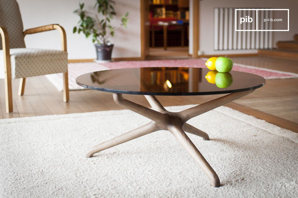 Nodern glazen salontafel gerookt glas massief hout pib