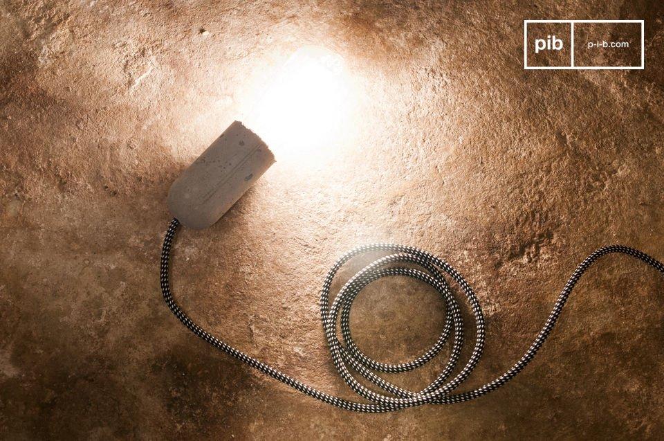 De NUD-hanglamp van cement kan opgehangen worden aan het plafond of gewikkeld rond een object