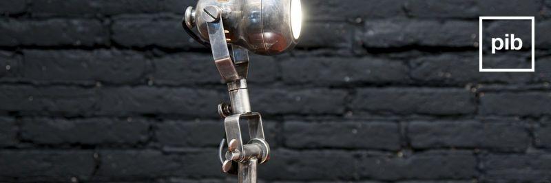 Oude collectie industriële tafellampen