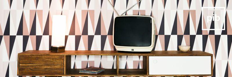 Oude collectie retro tv meubels in scandinavische stijl