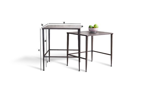Productafmetingen Philadelphia tafel set