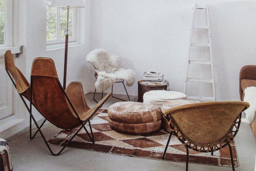 Platteland modern interieur lederen zetels stoelen
