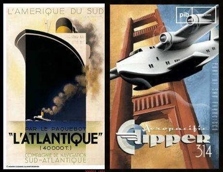 Posters van massareizen die trots zijn op de door de mens gemaakte machines