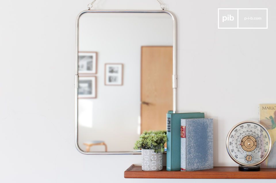 Retro spiegel met zilveren lijst Sonia