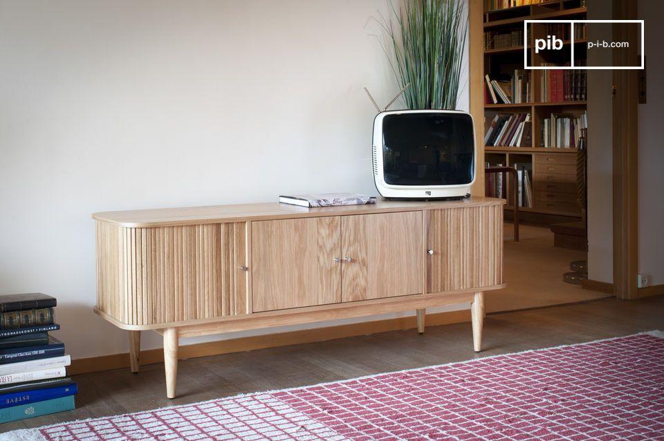 De Ritz gordijn tv meubel combineert een lichthouten stijl met een origineel en goed ontworpen