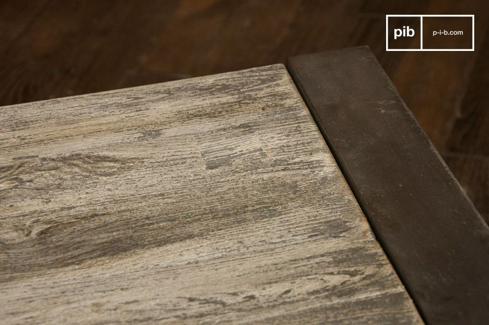 Grijze salontafel van staal en hout