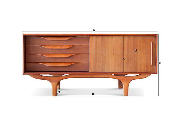 Productafmetingen Scandinavisch houten buffet Alrik