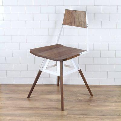 Scandinavische moderne stoel wit bruin