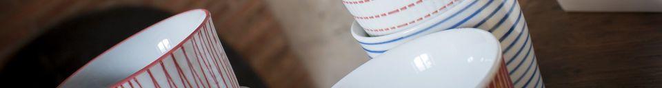 Benadrukte materialen Set van 6 porseleinen kopjes Grite