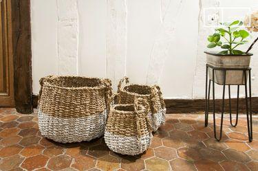 Set van drie pompoen rieten manden