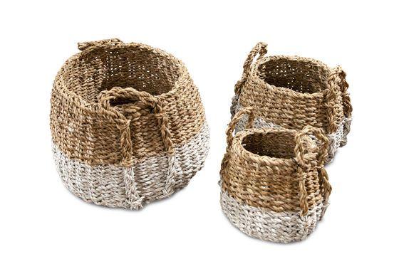 Set van drie pompoen rieten manden Productfoto