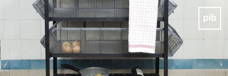 Shabby chic keuken karren met wielen