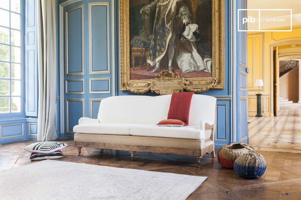 Shabby chic linnen sofa in een landelijke stijl