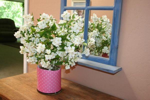 Spiegel raam bloemen
