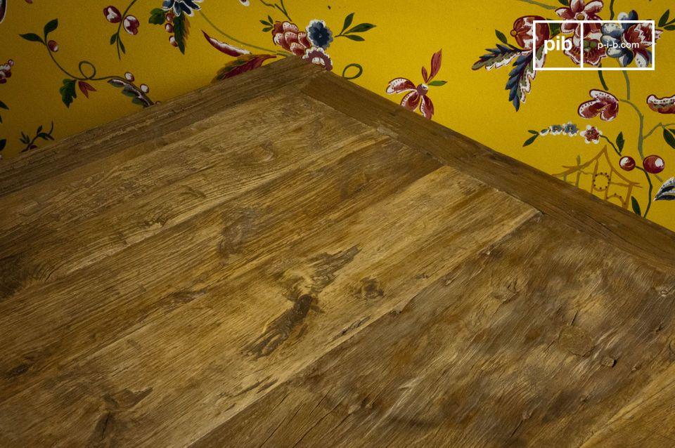Kubusvormige gerecyclede iepenhouten tafel