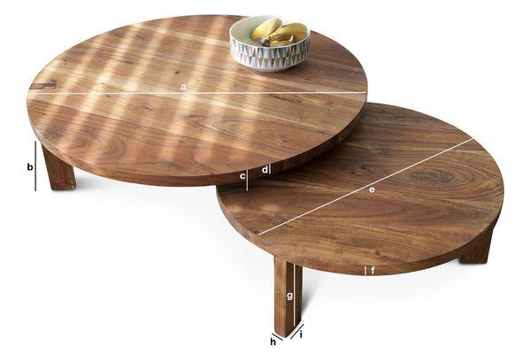 Productafmetingen Stockholm salontafel met dubbel tafelblad