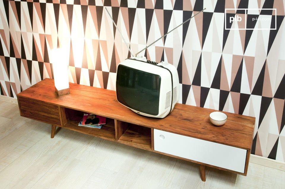 Geïnspireerd op de jaren '50, volledig gemaakt van massief acaciahout