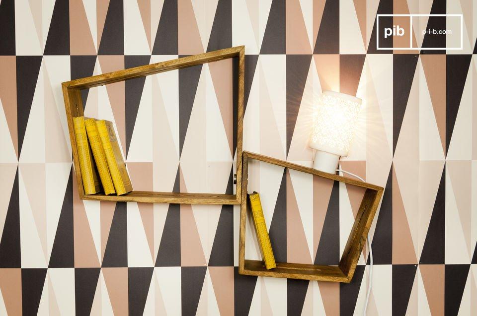 Aan de muur gemonteerde wandplanken waarmee jee een grote en originele boekenkast kan creëren
