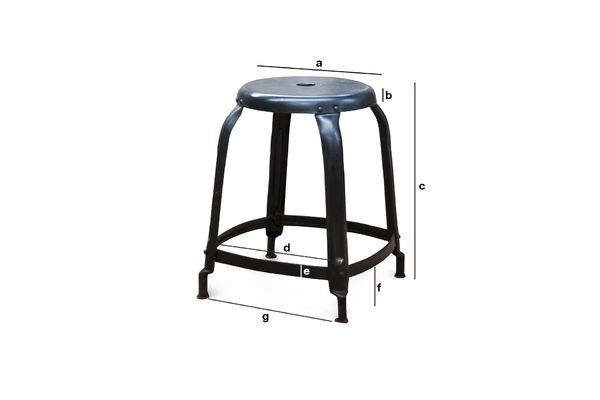 Productafmetingen Studio Stool matzwart met klinknagels