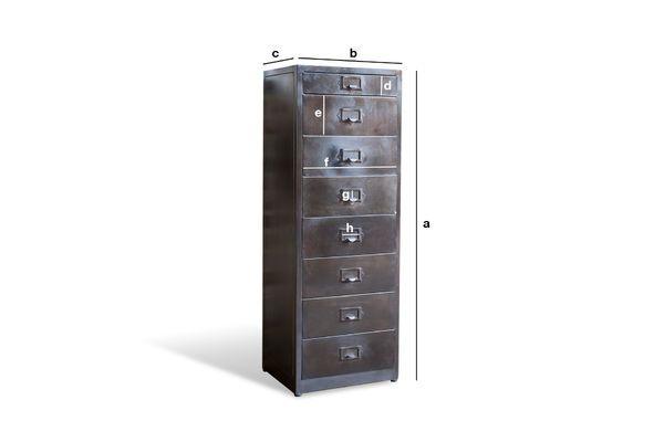 Productafmetingen Telex 8-lades metalen archiefkast