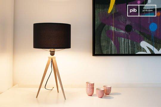 Tripod wood tafellamp