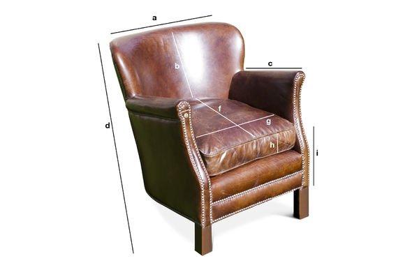 Productafmetingen Turner leren fauteuil