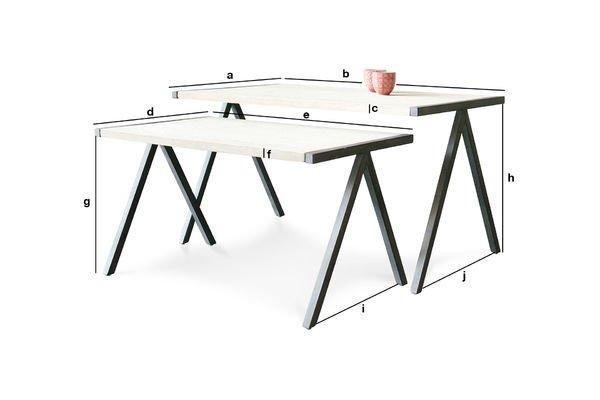 Productafmetingen Tweedelige Arlanda salontafel