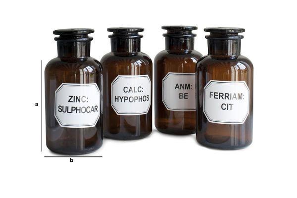 Productafmetingen Vier apothekersflessen