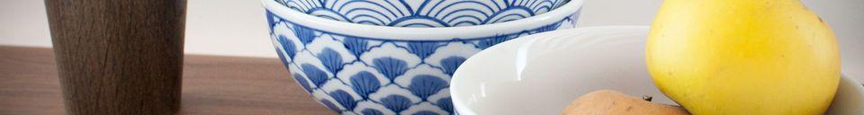 Benadrukte materialen Vier Blue Lagoon porseleinen kommen
