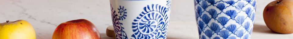 Benadrukte materialen Vier Blue Lagoon porseleinen koppen