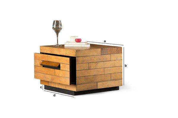 Productafmetingen Vierkante salontafel Sheffield