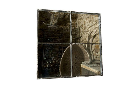 Vierkante spiegel met vier panelen Productfoto