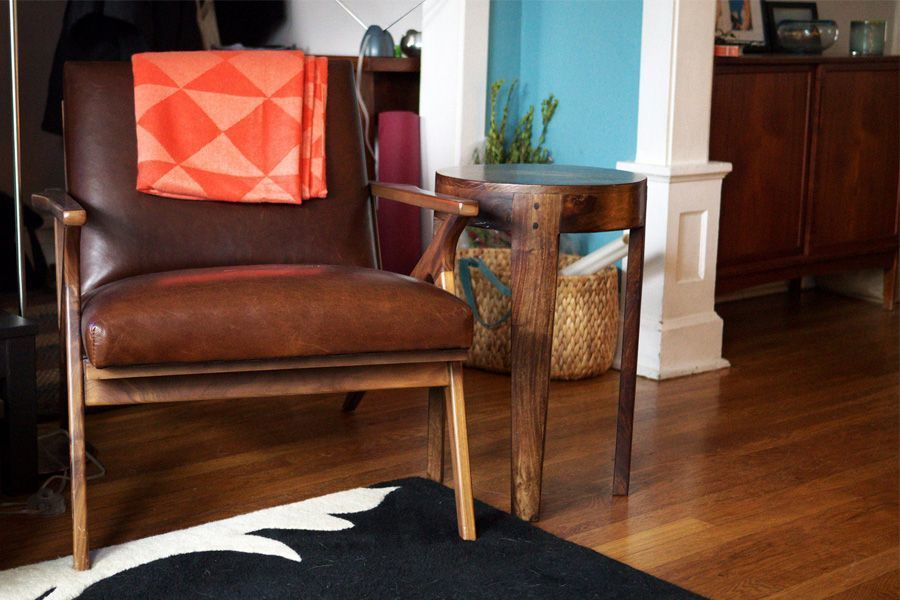 Vintage lederen bruine zetel