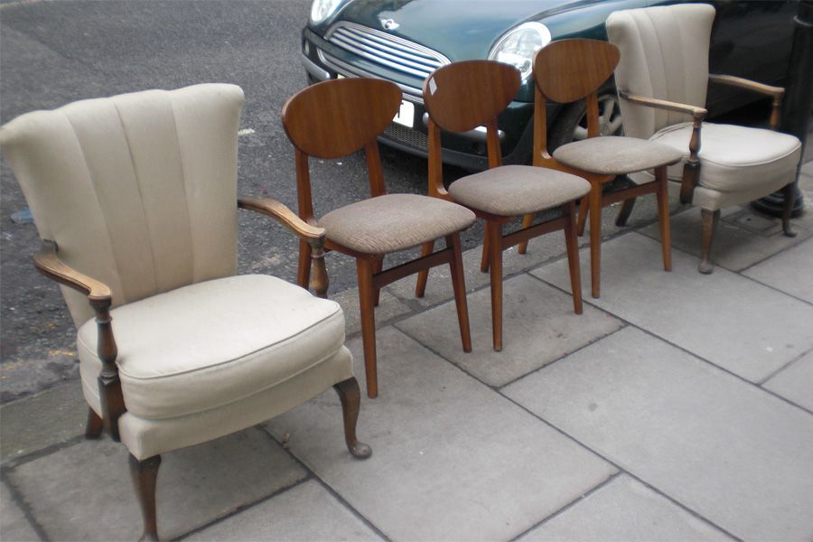 Vintage witte zetels stoelen