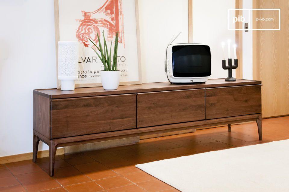 Walnoten tv kast hemët grote verschuifbare laden pib