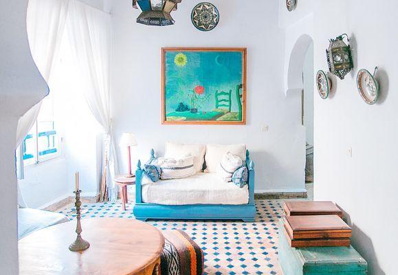 Wit blauw interieur
