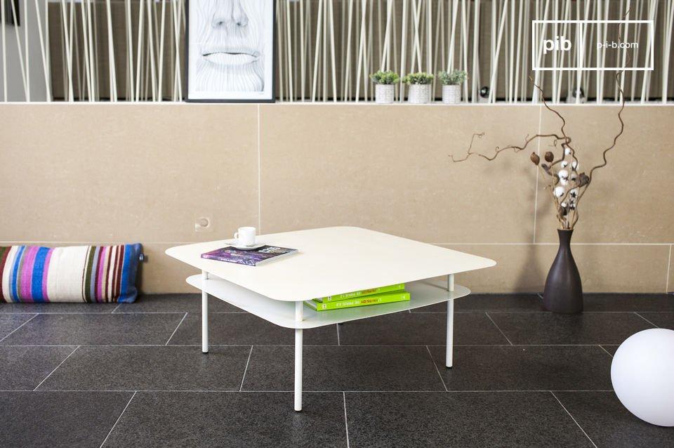 De witte Holly salontafel is van metaal en is geïnspireerd op de Scandinavische stijl van de jaren