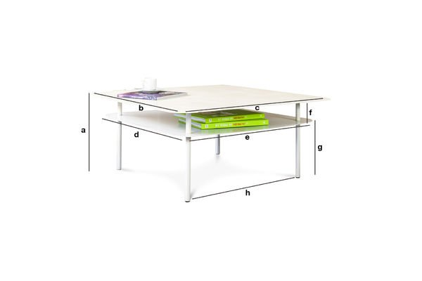 Productafmetingen Witte Holly salontafel