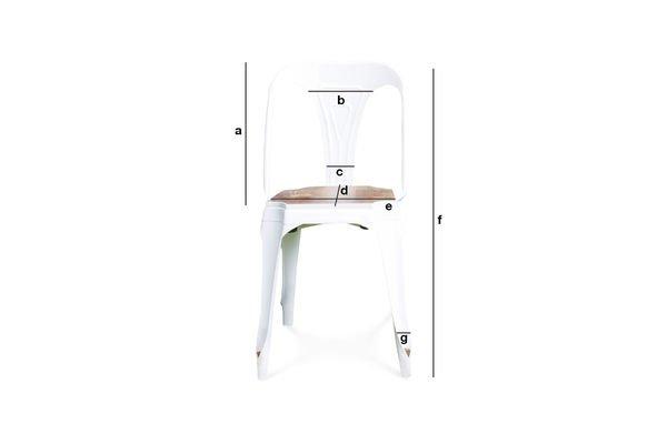 Productafmetingen Witte Multipl's stoel - hout