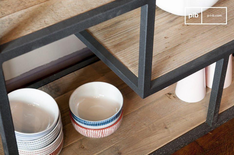 De Yordën Scandinavische design boekenkast heeft een prachtige asymmetrische structuur die een