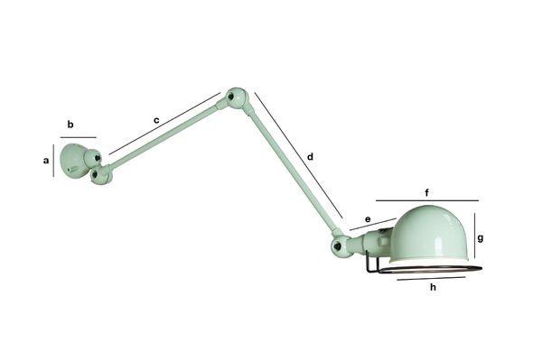 Productafmetingen Zeegroene Jieldé Signal wandlamp