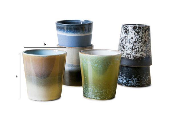 Productafmetingen Zes Ceramix koffiekopjes