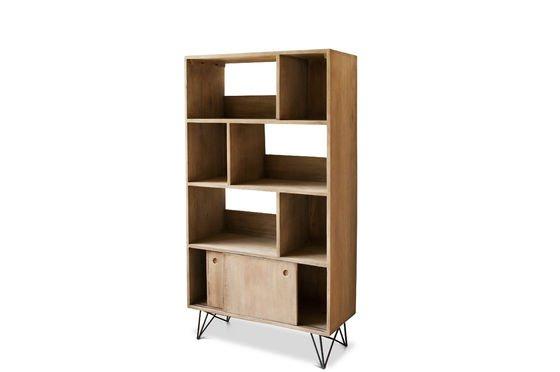 Zurich houten boekenkast licht hout en retro sfeer pib - Boekenkast hout en ijzer ...